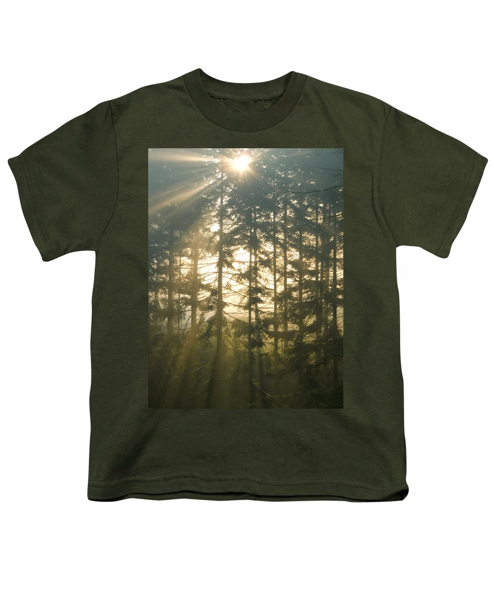 Nature Youth T-Shirt featuring the photograph Light In The Forest by Daniel Csoka