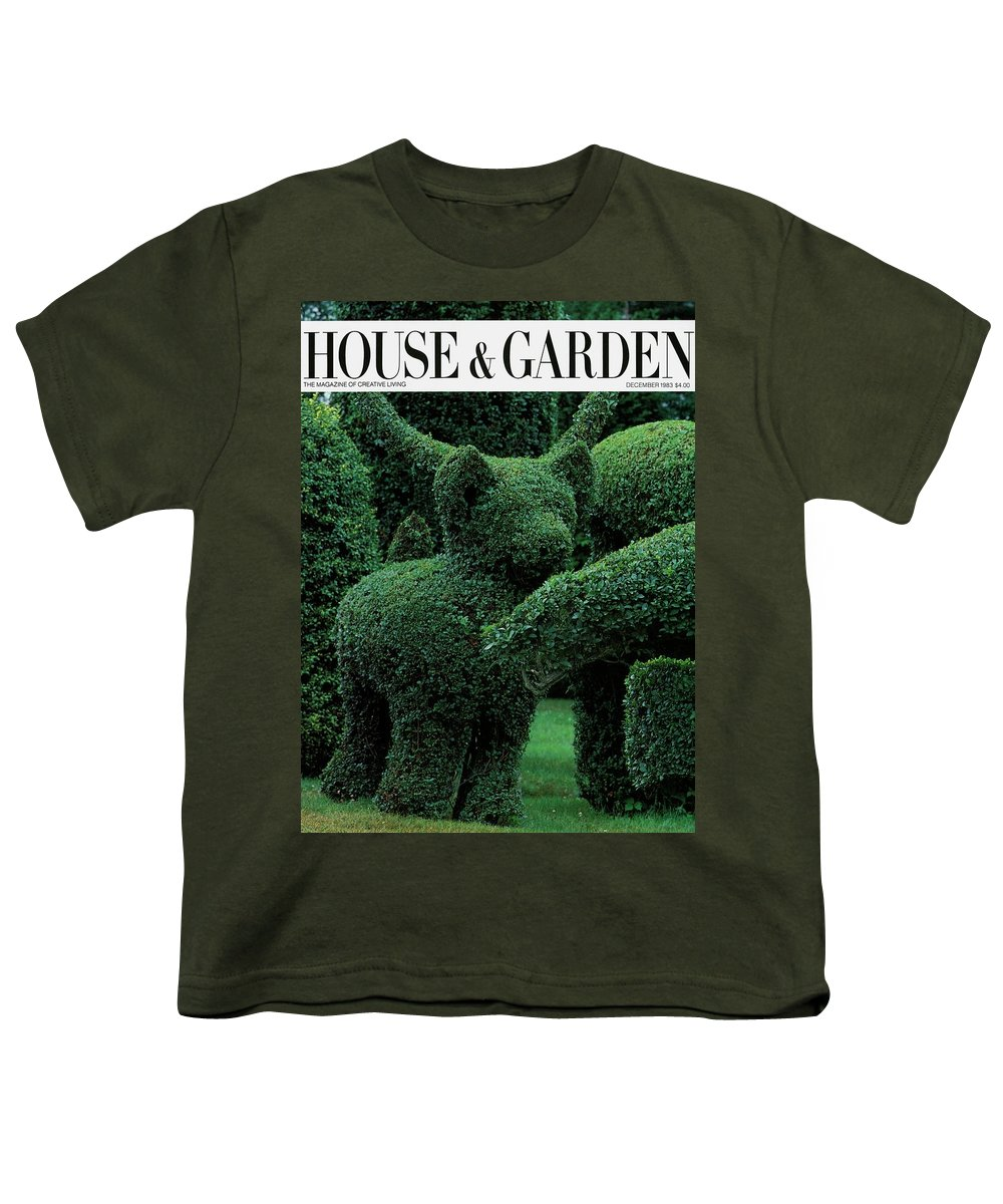 Animal Youth T-Shirt featuring the photograph A Topiary Bear In Alice Braytons Green Animals by Horst P. Horst