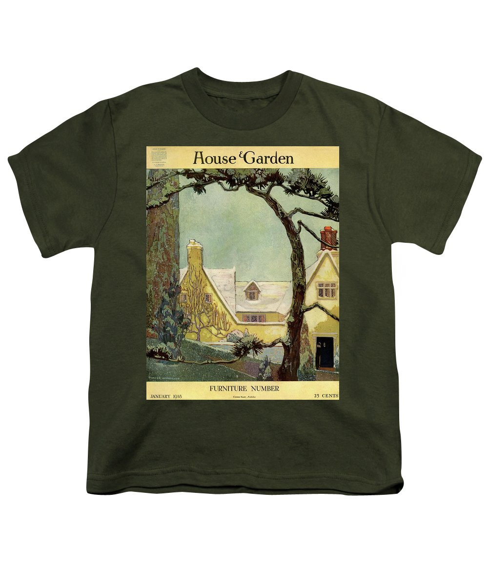 House And Garden Youth T-Shirt featuring the photograph An English Country House by Porter Woodruff