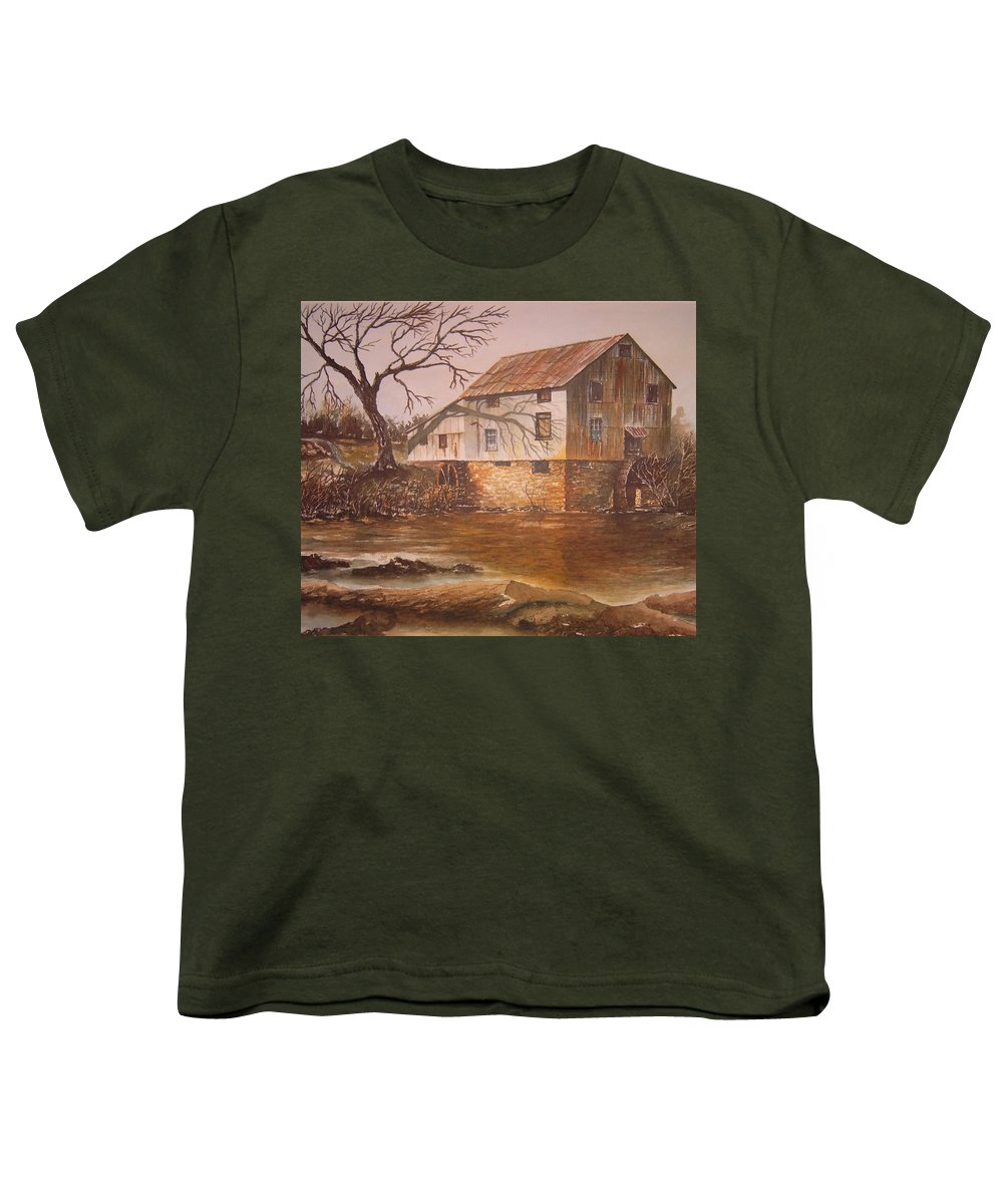 Landscape Youth T-Shirt featuring the painting Anderson Mill by Ben Kiger