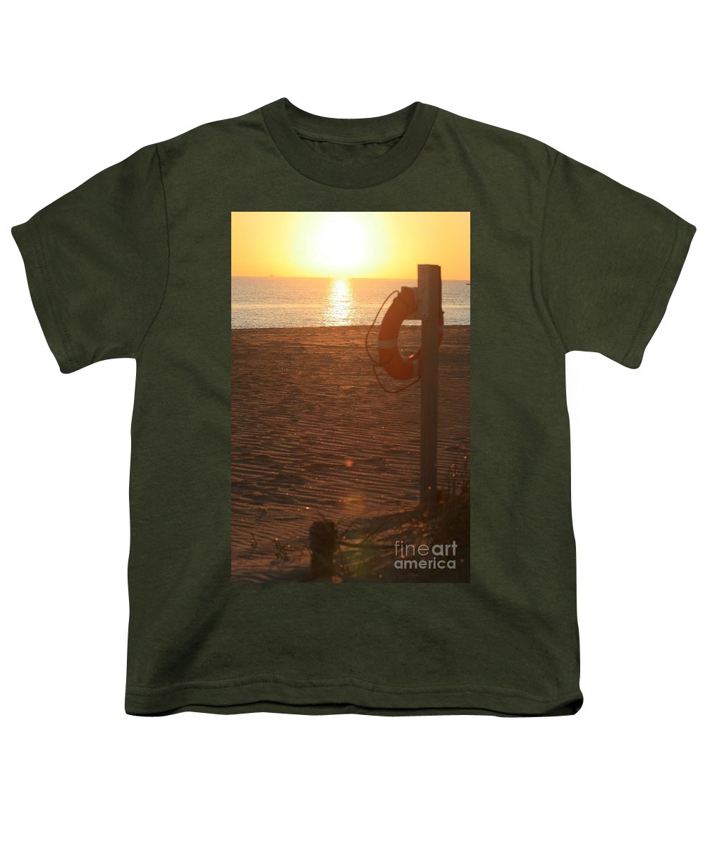 Beach Youth T-Shirt featuring the photograph Beach At Sunset by Nadine Rippelmeyer