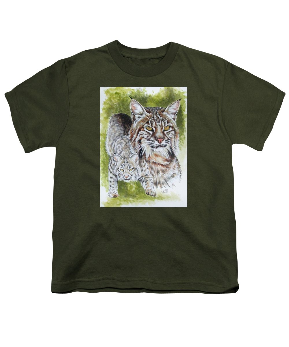 Small Cat Youth T-Shirt featuring the mixed media Brassy by Barbara Keith
