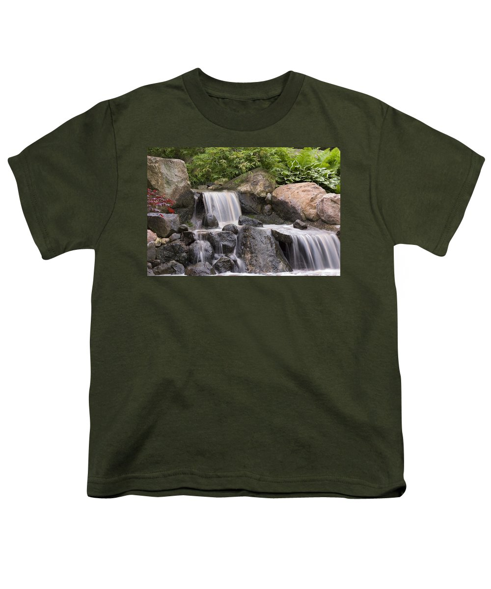3scape Youth T-Shirt featuring the photograph Cascade Waterfall by Adam Romanowicz