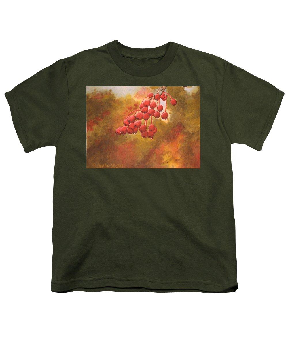 Rick Huotari Youth T-Shirt featuring the painting Door County Cherries by Rick Huotari