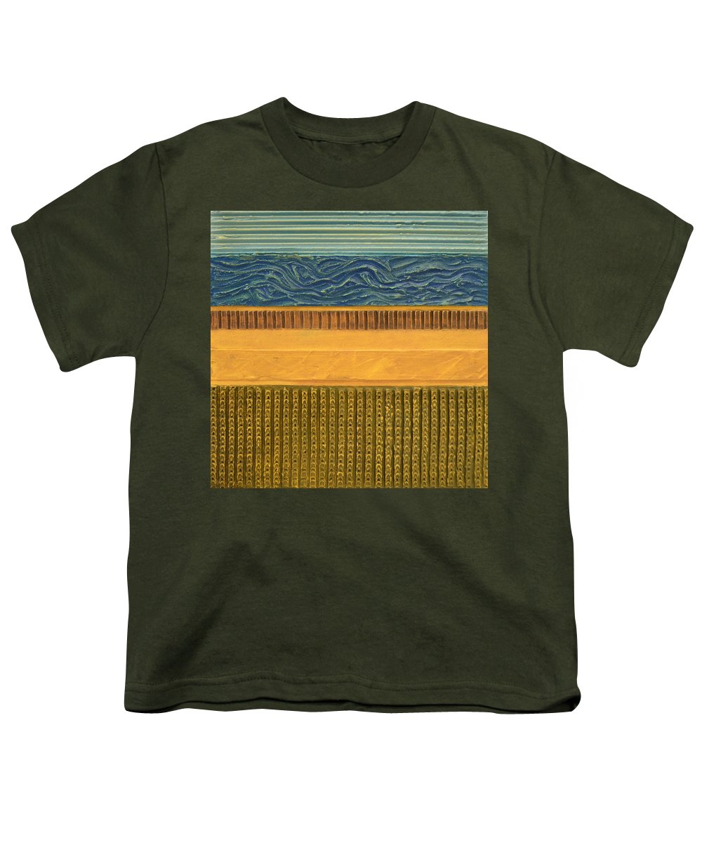 Abstract Youth T-Shirt featuring the painting Earth Layers Abstract L by Michelle Calkins