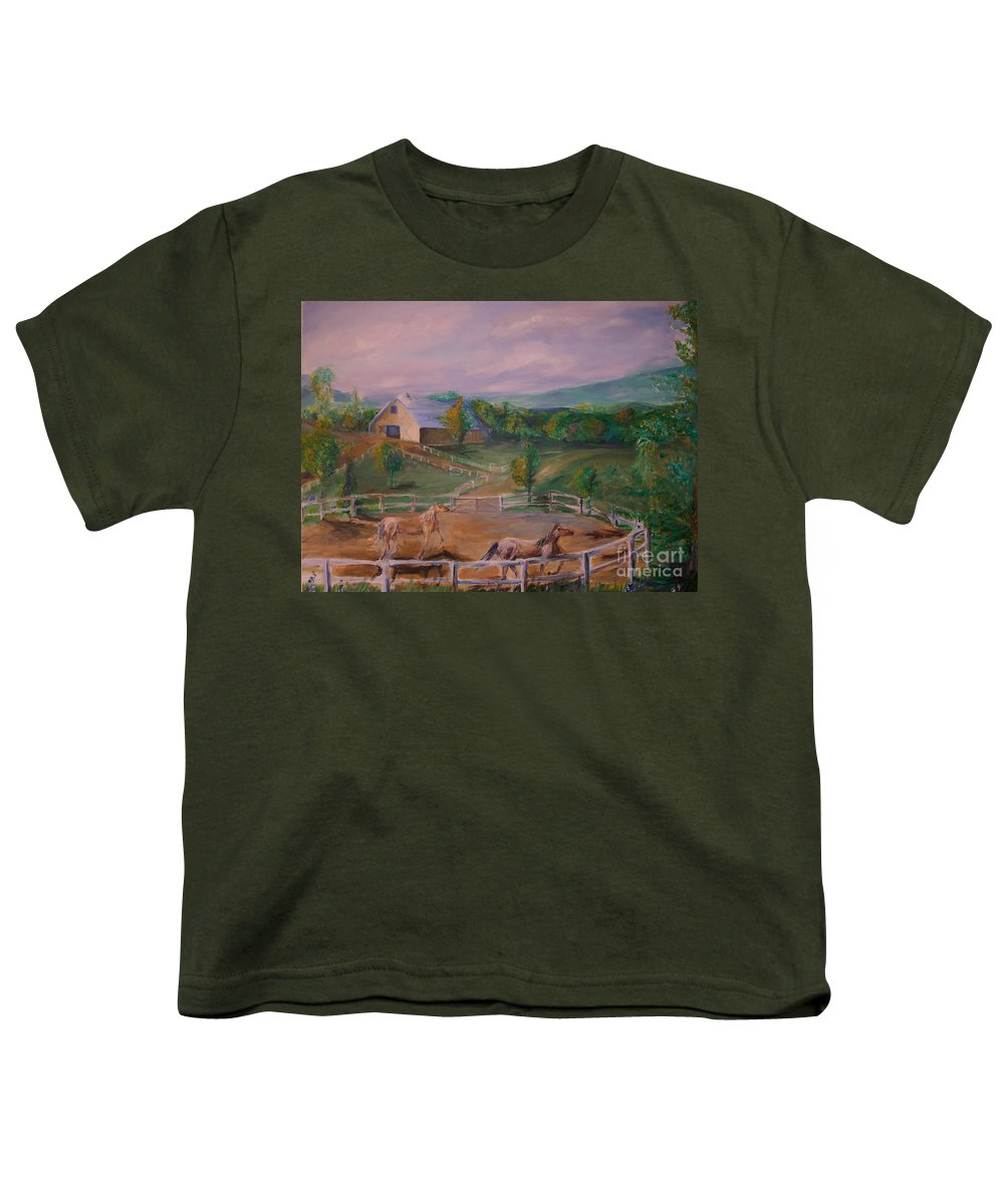 Pennsylvania Youth T-Shirt featuring the painting Gettysburg Farm by Eric Schiabor