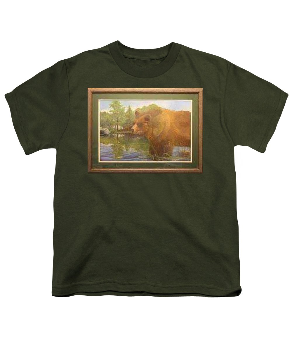 Rick Huotari Youth T-Shirt featuring the painting Grizzly by Rick Huotari
