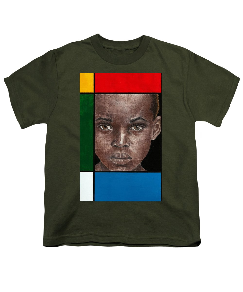 African American Artwork Youth T-Shirt featuring the mixed media Intense by Edith Peterson-Watson