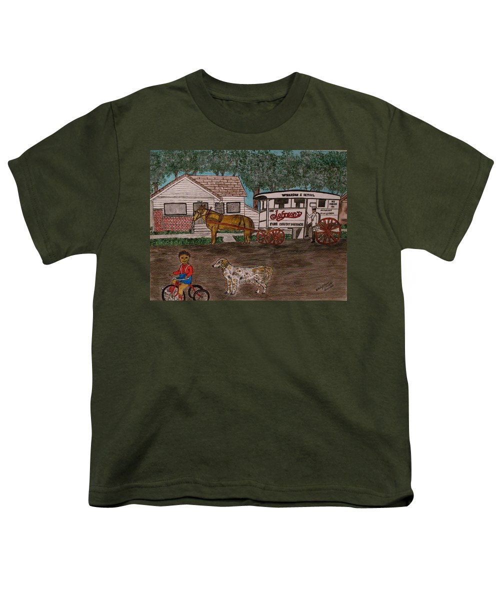 Johnson Creamery Youth T-Shirt featuring the painting Johnsons Milk Wagon Pulled By A Horse by Kathy Marrs Chandler