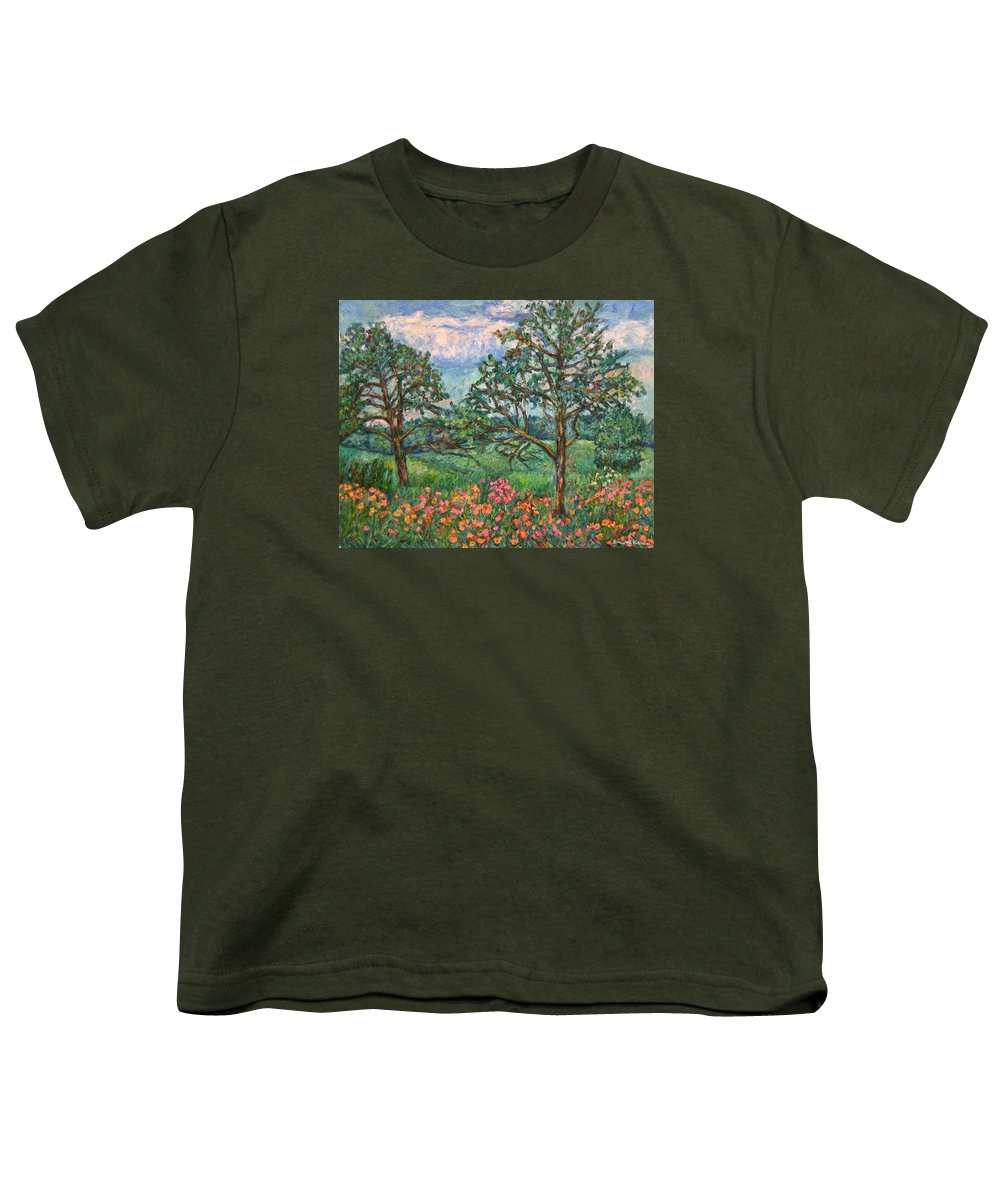 Landscape Youth T-Shirt featuring the painting Kraft Avenue In Blacksburg by Kendall Kessler