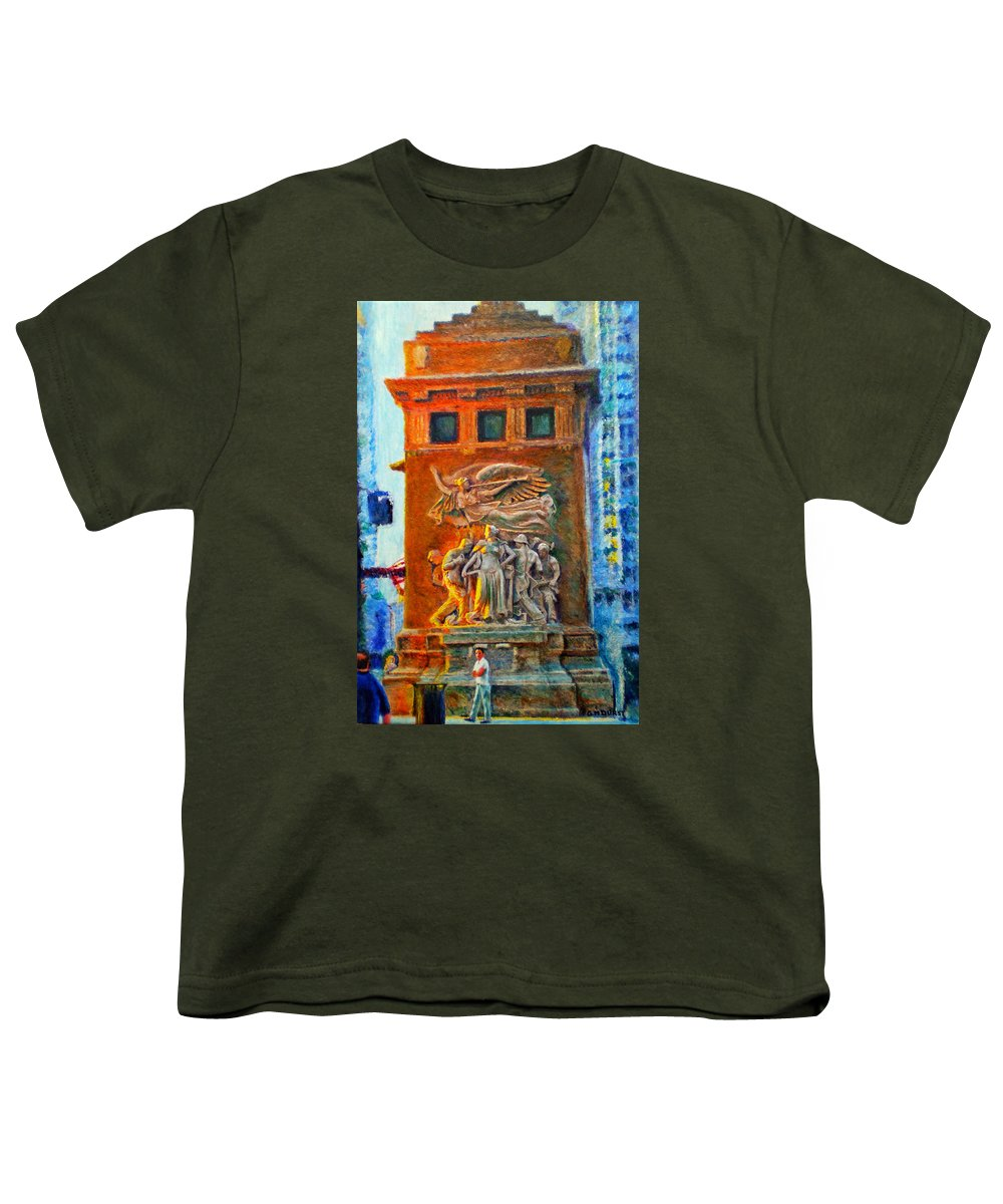 Chicago Youth T-Shirt featuring the painting Michigan Avenue Bridge by Michael Durst