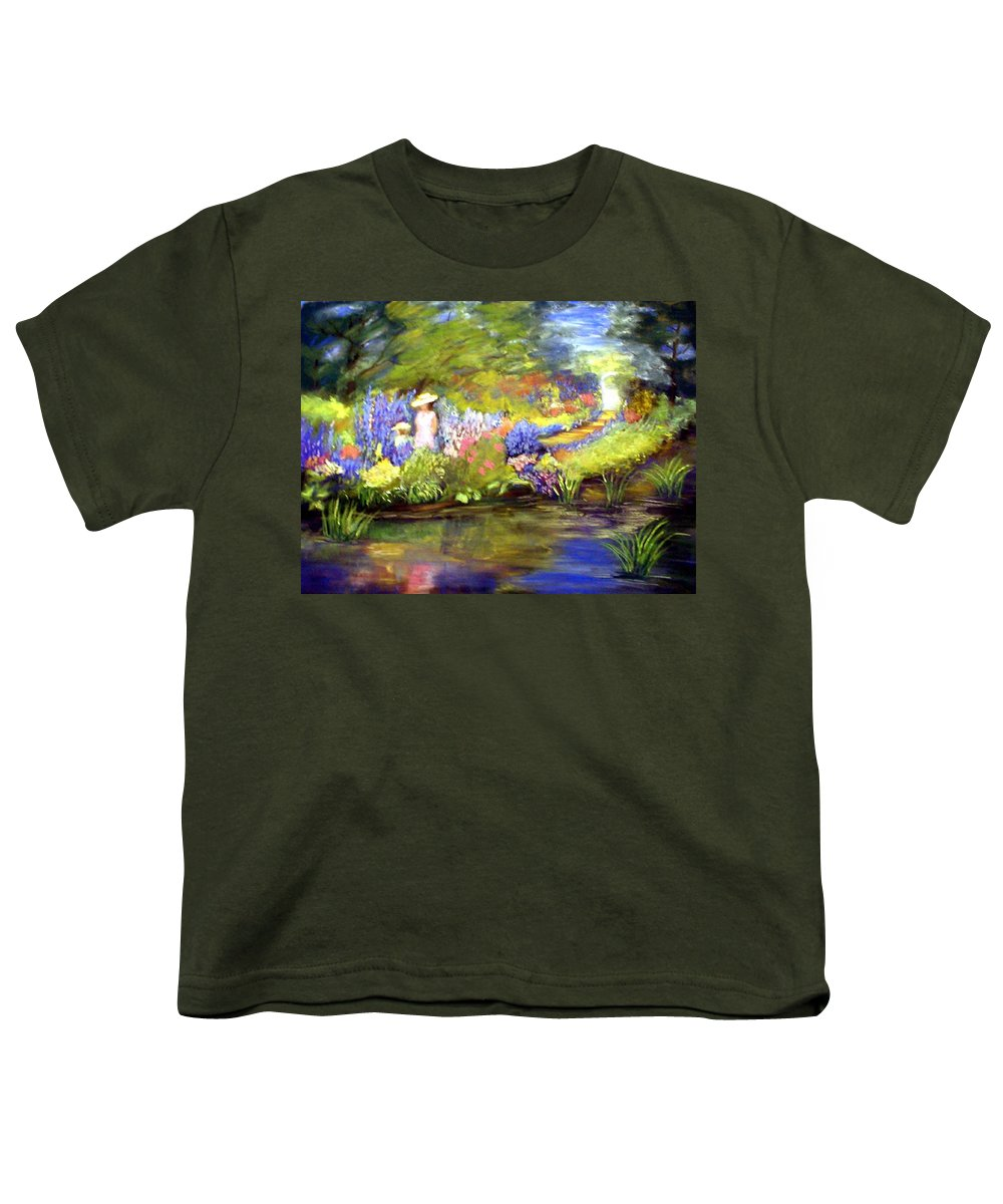 Flower Garden Youth T-Shirt featuring the painting Mother And Daughter by Gail Kirtz