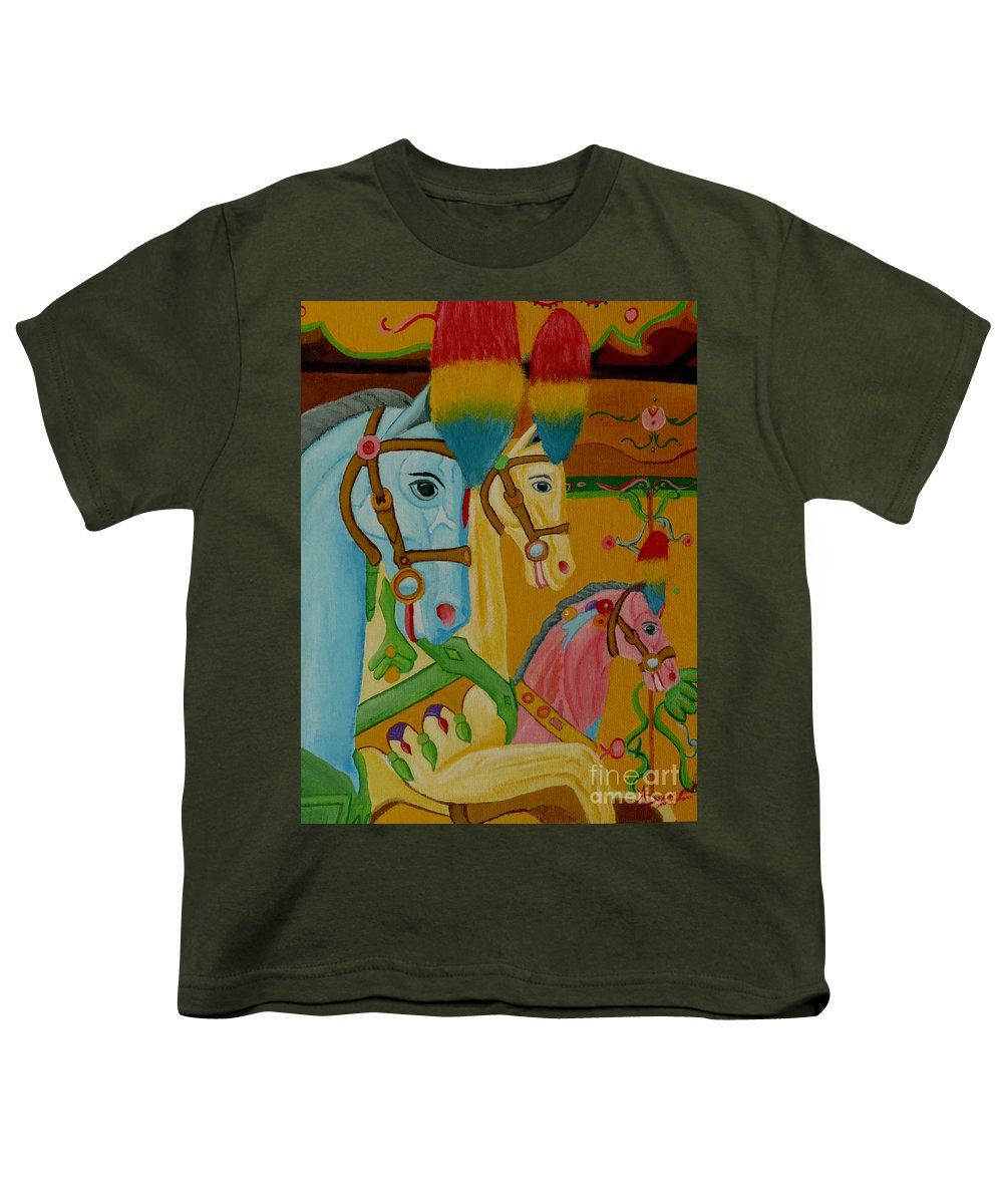 Carousel Youth T-Shirt featuring the painting Painted Ponies by Anthony Dunphy