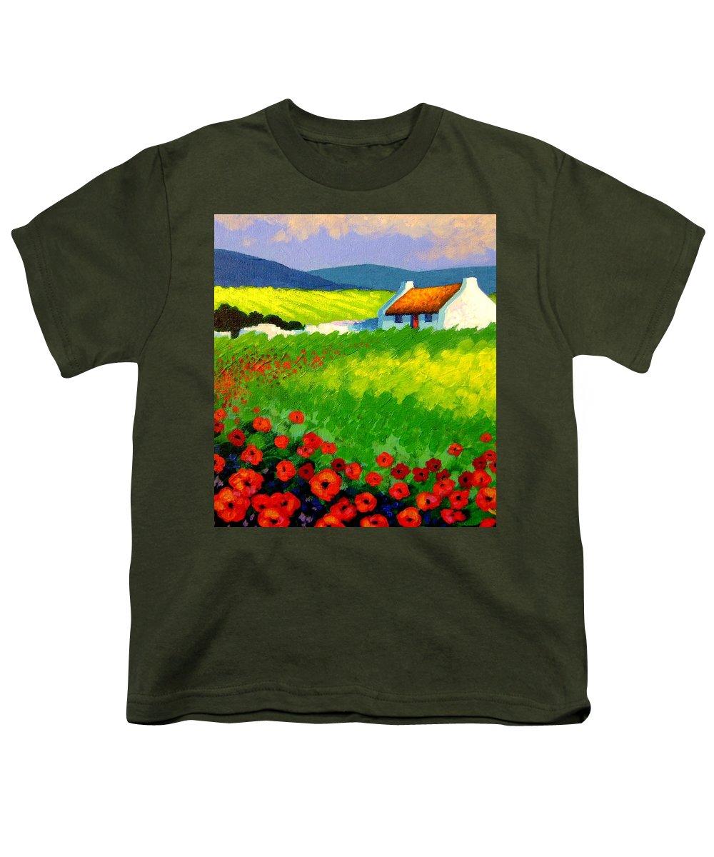 Ireland Youth T-Shirt featuring the painting Poppy Field - Ireland by John Nolan