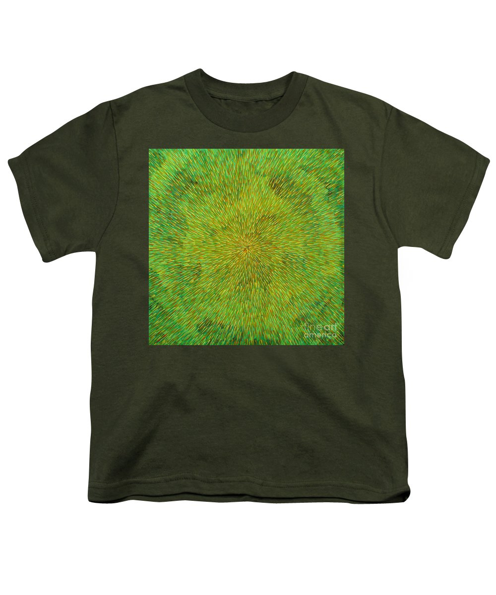 Abstract Youth T-Shirt featuring the painting Radiation With Green Yellow And Orange by Dean Triolo