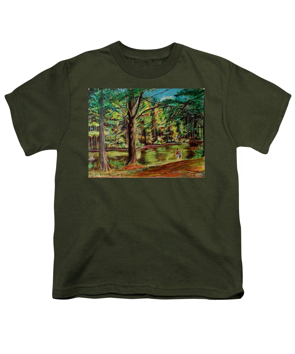 New Hampshire Youth T-Shirt featuring the pastel Sisters At Wason Pond by Sean Connolly