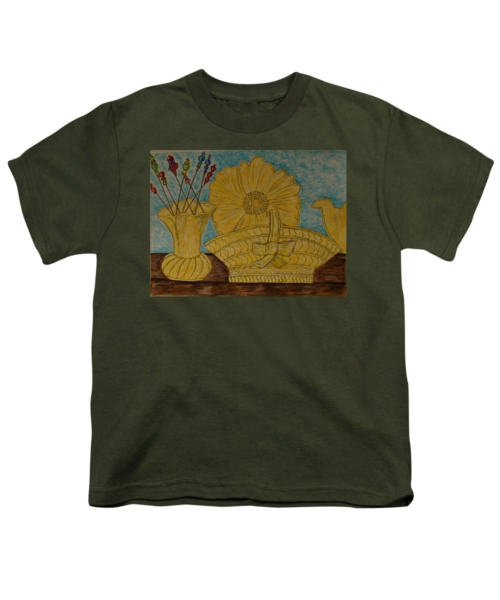 Stangl Pottery Youth T-Shirt featuring the painting Stangl Pottery Satin Yellow Pattern And Vintage Hat Pins by Kathy Marrs Chandler