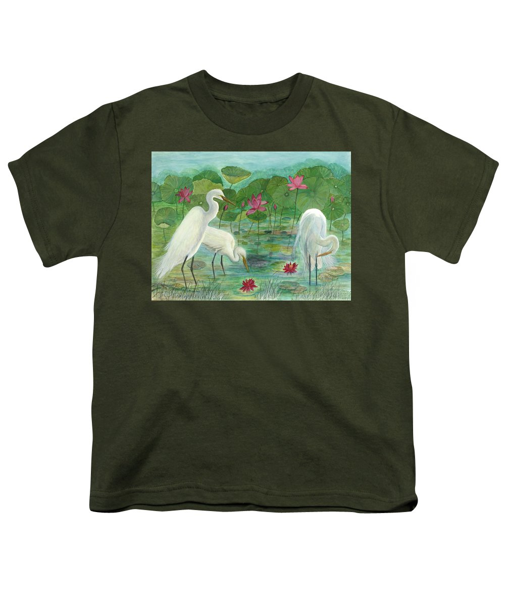 Lily Pads; Egrets; Low Country Youth T-Shirt featuring the painting Summer Trilogy by Ben Kiger