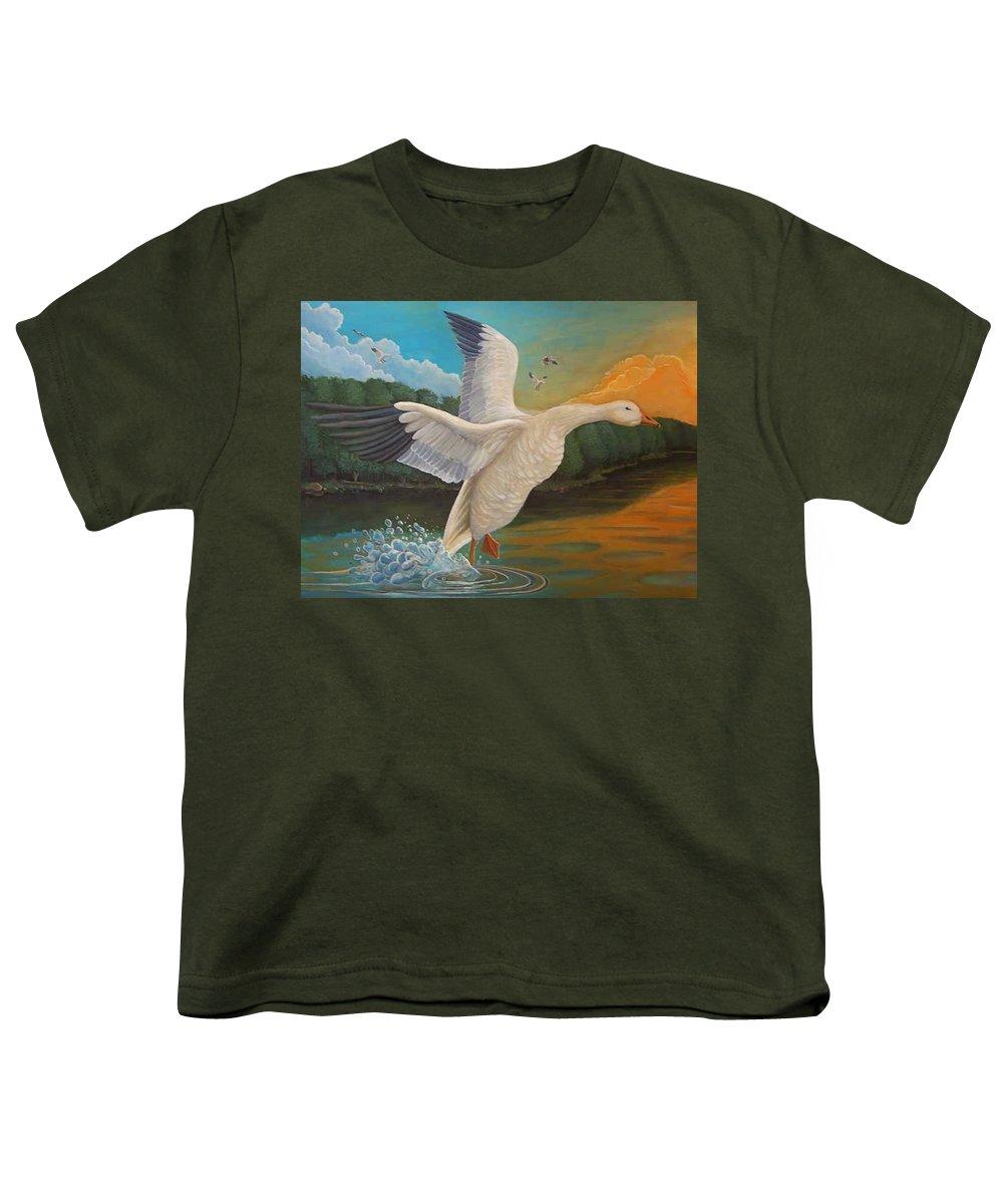 Rick Huotari Youth T-Shirt featuring the painting The Landing by Rick Huotari