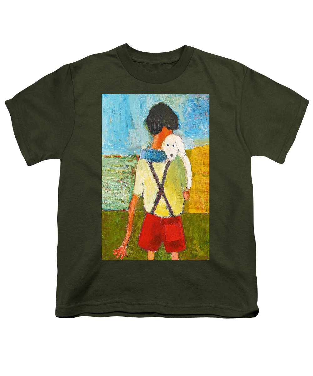 Abstract Youth T-Shirt featuring the painting The Little Puppy by Habib Ayat