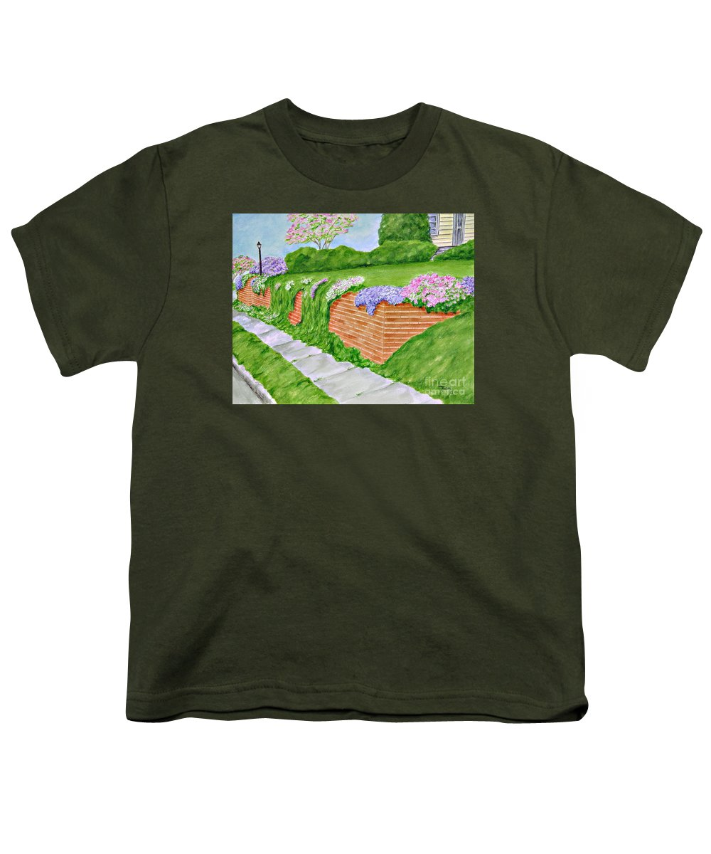 Landscape Youth T-Shirt featuring the painting Wall Of Flowers by Regan J Smith