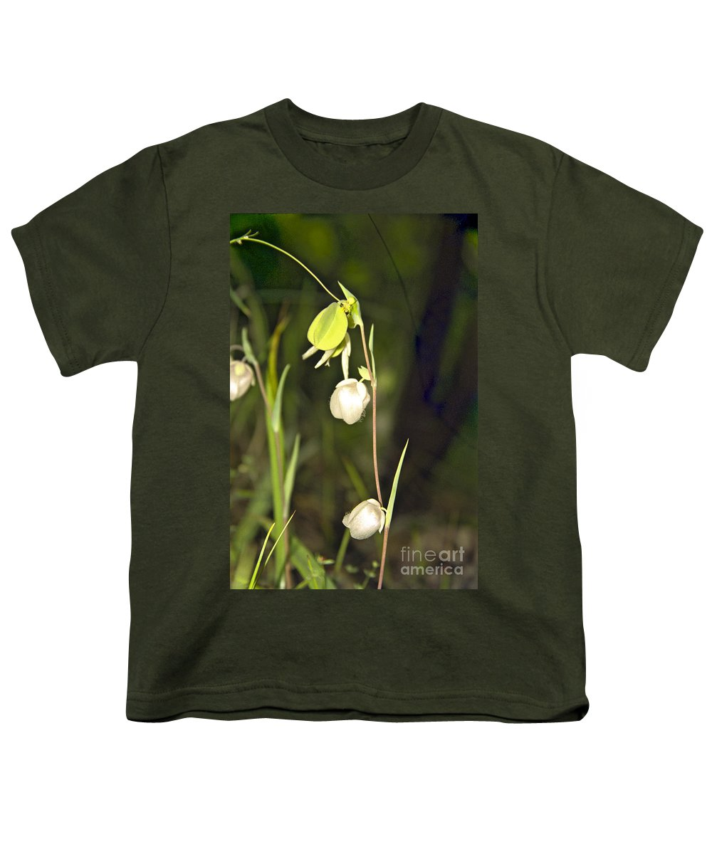 Wildflowers; Globes; Nature; Green; White Youth T-Shirt featuring the photograph Whispers by Kathy McClure
