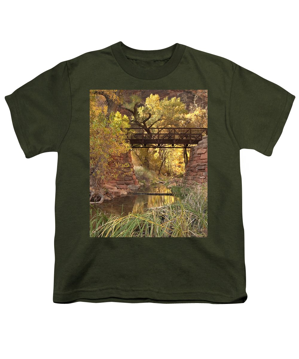 3scape Photos Youth T-Shirt featuring the photograph Zion Bridge by Adam Romanowicz
