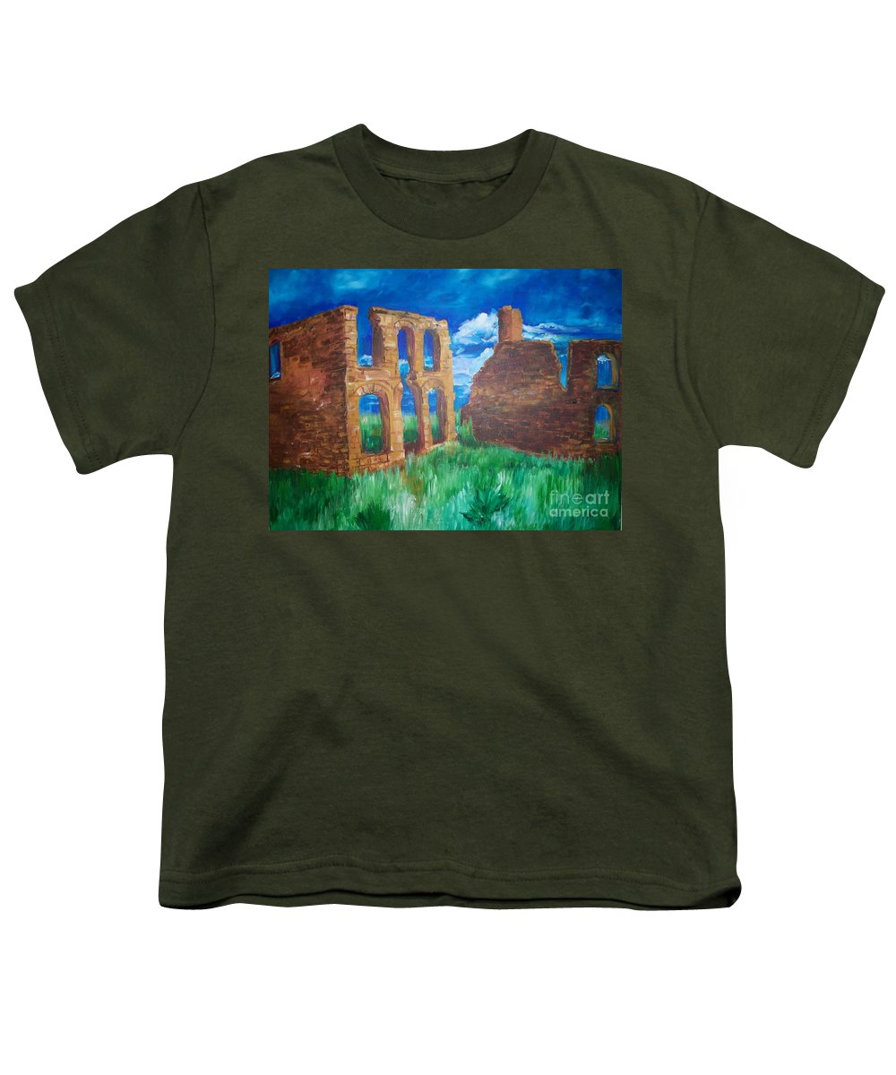 Western_landscapes Youth T-Shirt featuring the painting Ghost Town by Eric Schiabor