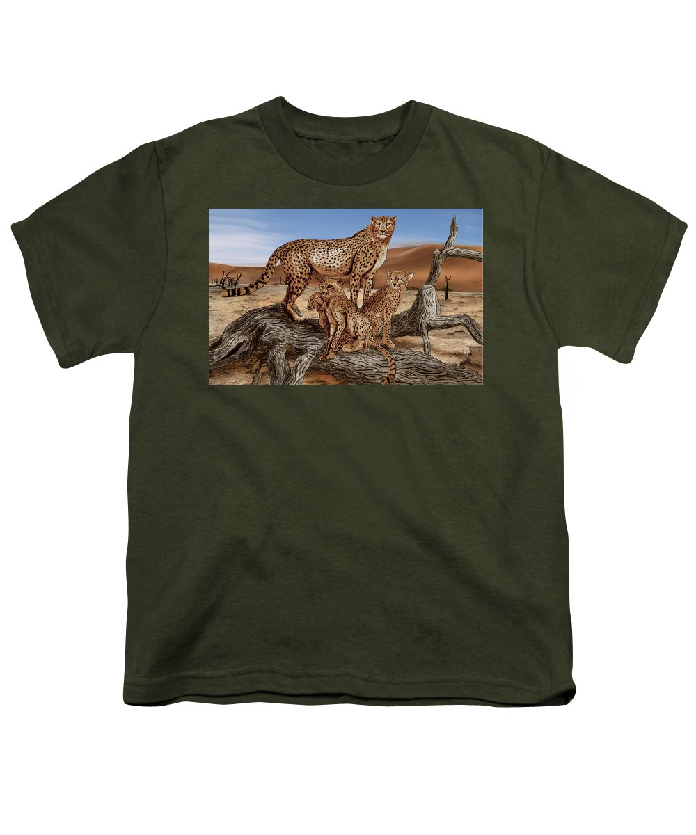 Cheetah Family Tree Youth T-Shirt featuring the drawing Cheetah Family Tree by Peter Piatt