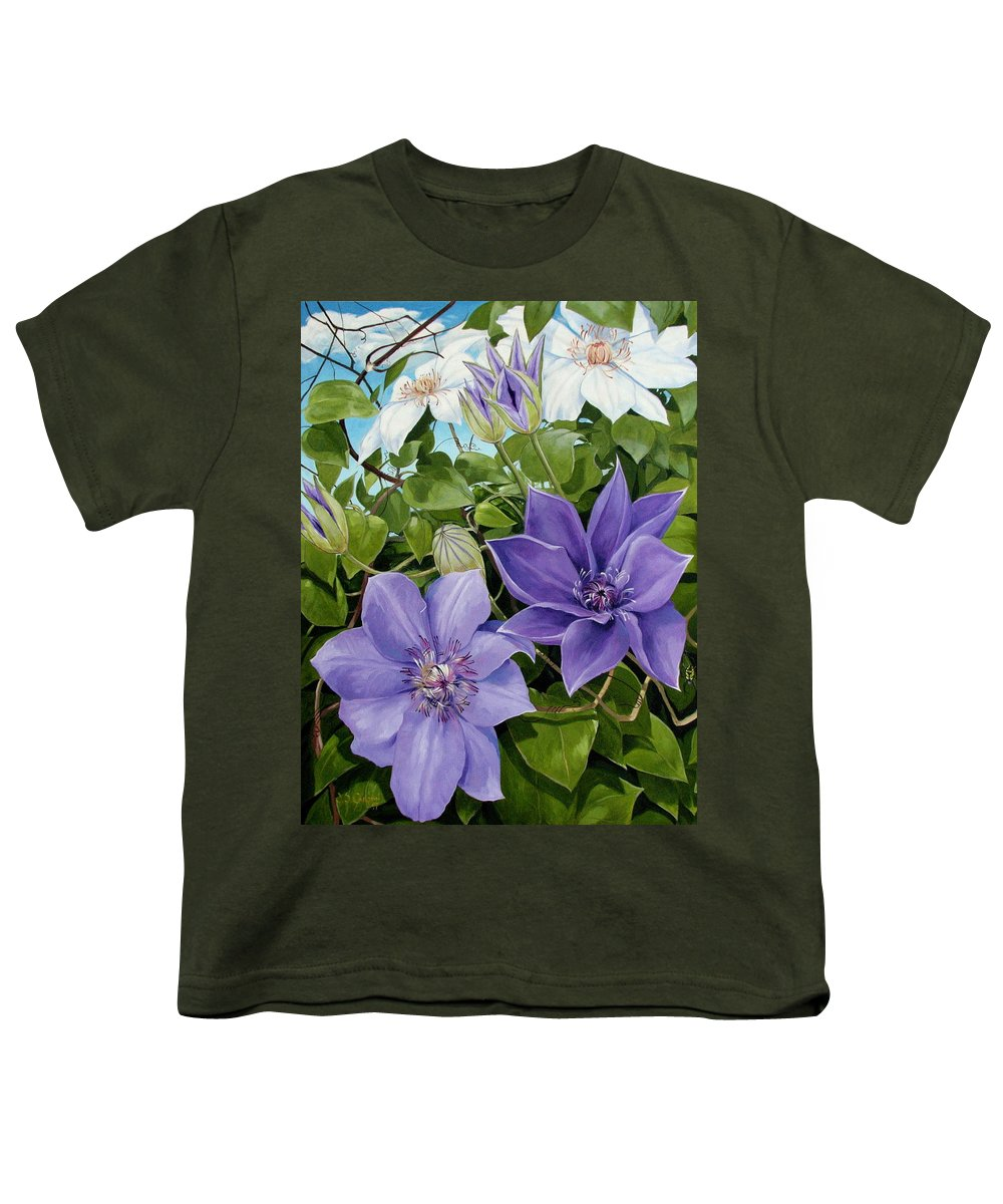 Clematis Youth T-Shirt featuring the painting Clematis 2 by Jerrold Carton