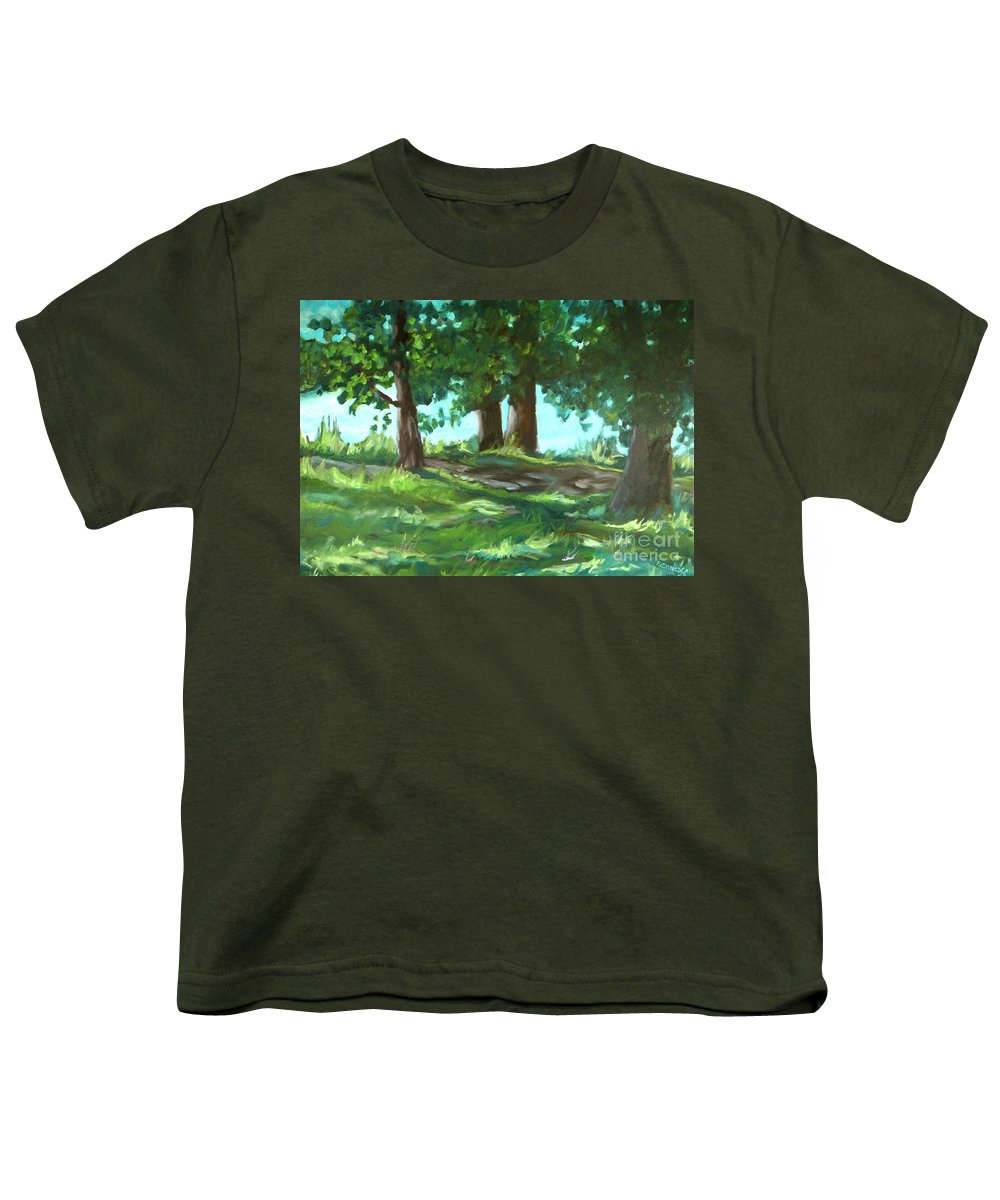 Expressionist Landscape Youth T-Shirt featuring the painting Dreaming On Fellows Lake by Jan Bennicoff
