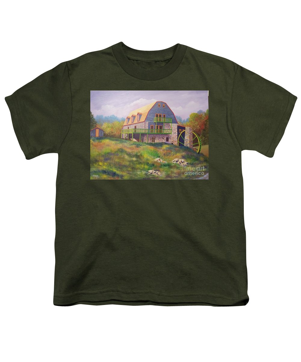 Mill Youth T-Shirt featuring the painting Mountain Mill by Hugh Harris