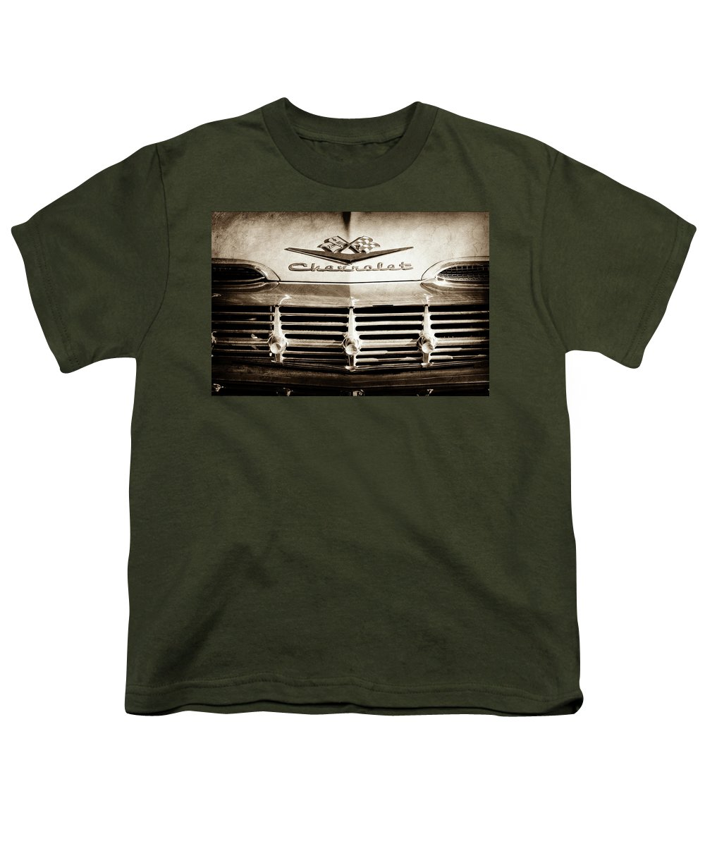 1959 Chevrolet Impala Grille Emblem Youth T-Shirt featuring the photograph 1959 Chevrolet Impala Grille Emblem -1014s by Jill Reger
