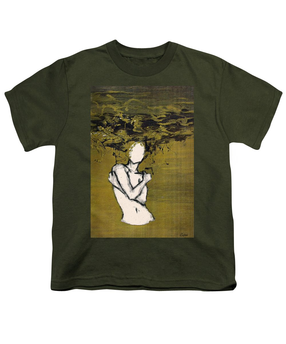 Gold Woman Hair Bath Nude Youth T-Shirt featuring the mixed media Untitled by Veronica Jackson
