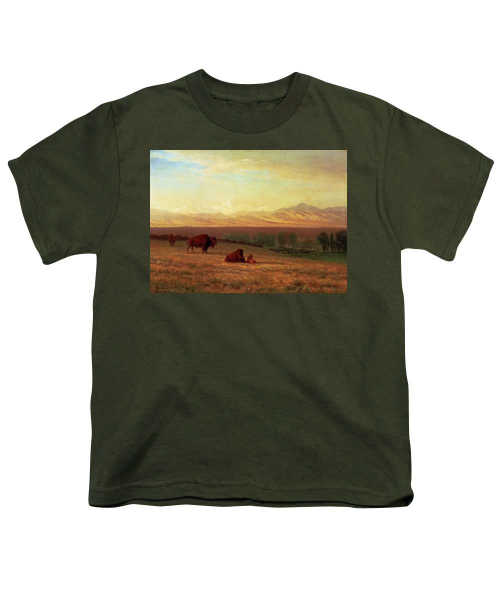Albert Bierstadt Youth T-Shirt featuring the painting Buffalo On The Plains by Albert Bierstadt