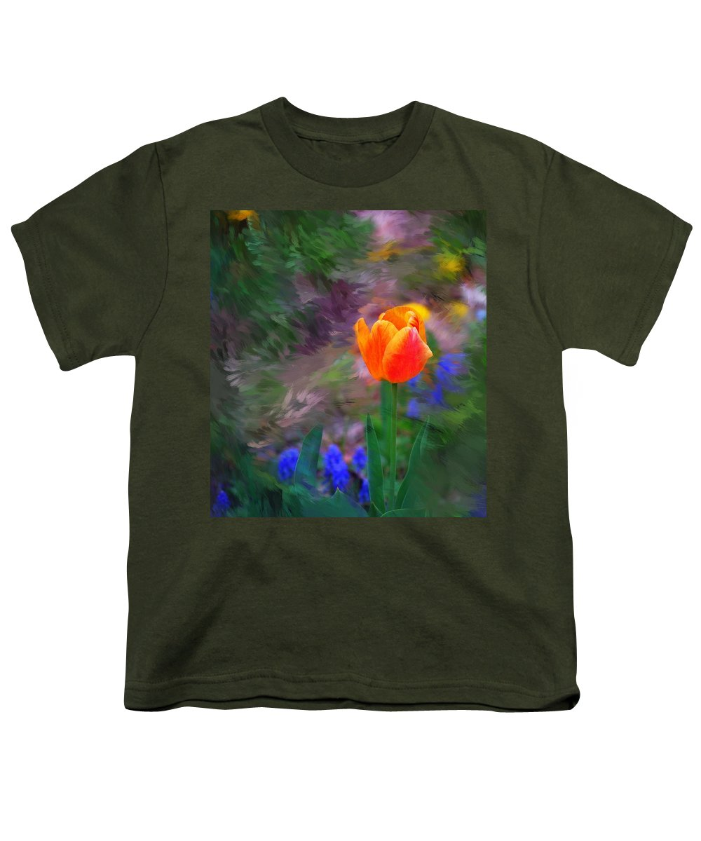 Floral Youth T-Shirt featuring the digital art A Tulip Stands Alone by David Lane