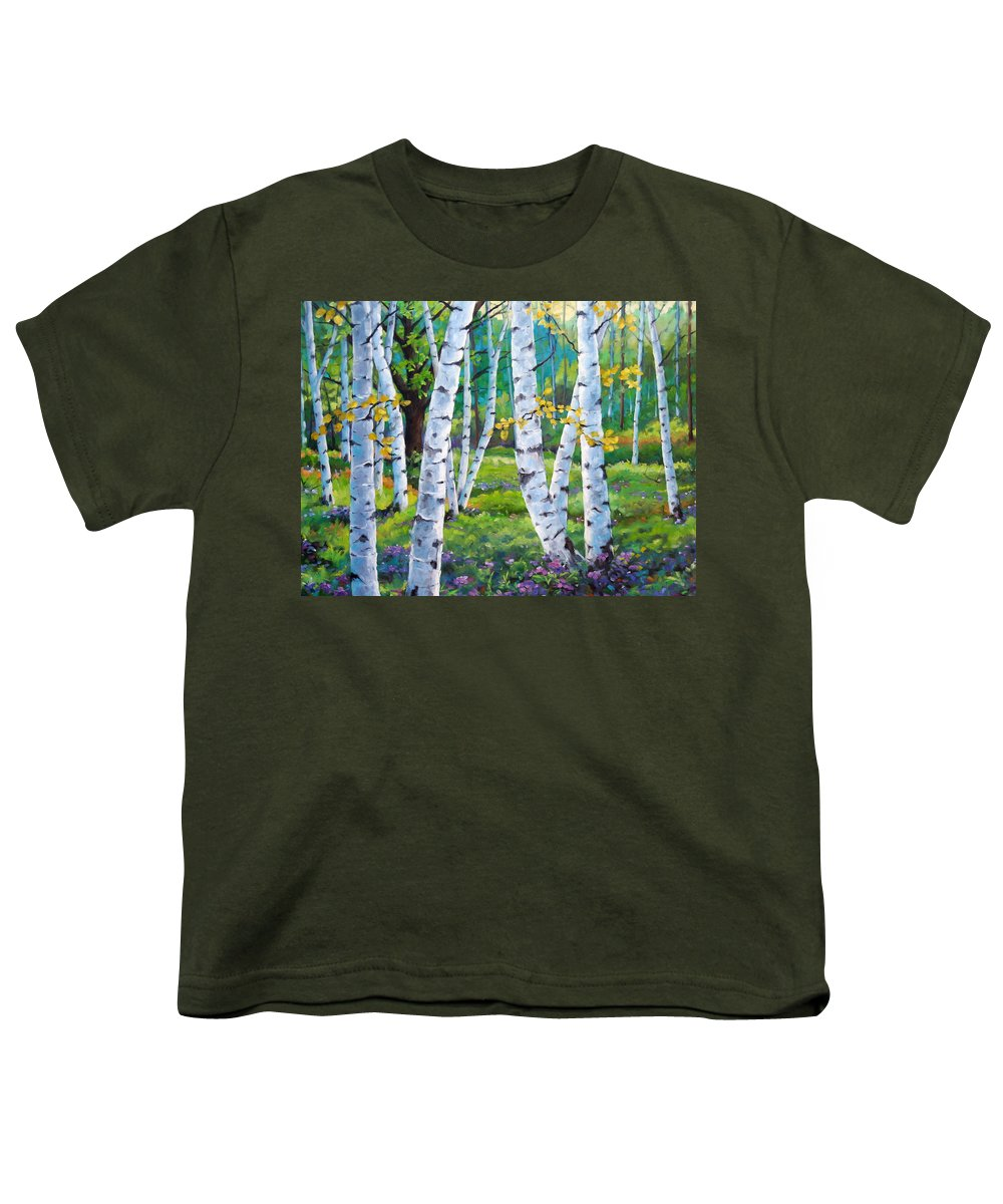 Birche; Birches; Tree; Trees; Nature; Landscape; Landscapes Scenic; Richard T. Pranke; Canadian Artist Painter Youth T-Shirt featuring the painting Alpine Flowers And Birches by Richard T Pranke