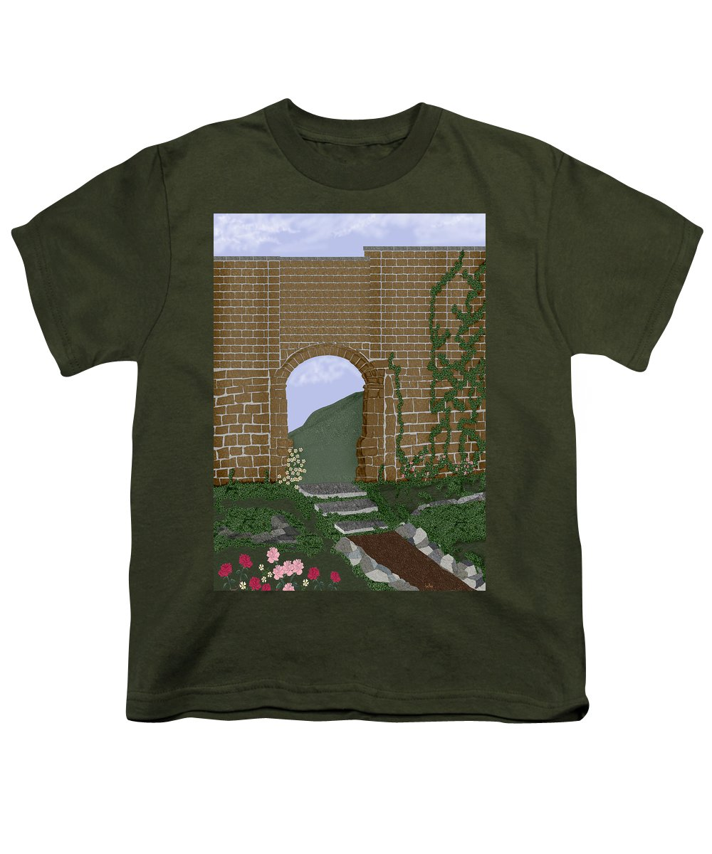 Irish Ruins Youth T-Shirt featuring the painting Ancient Walls by Anne Norskog
