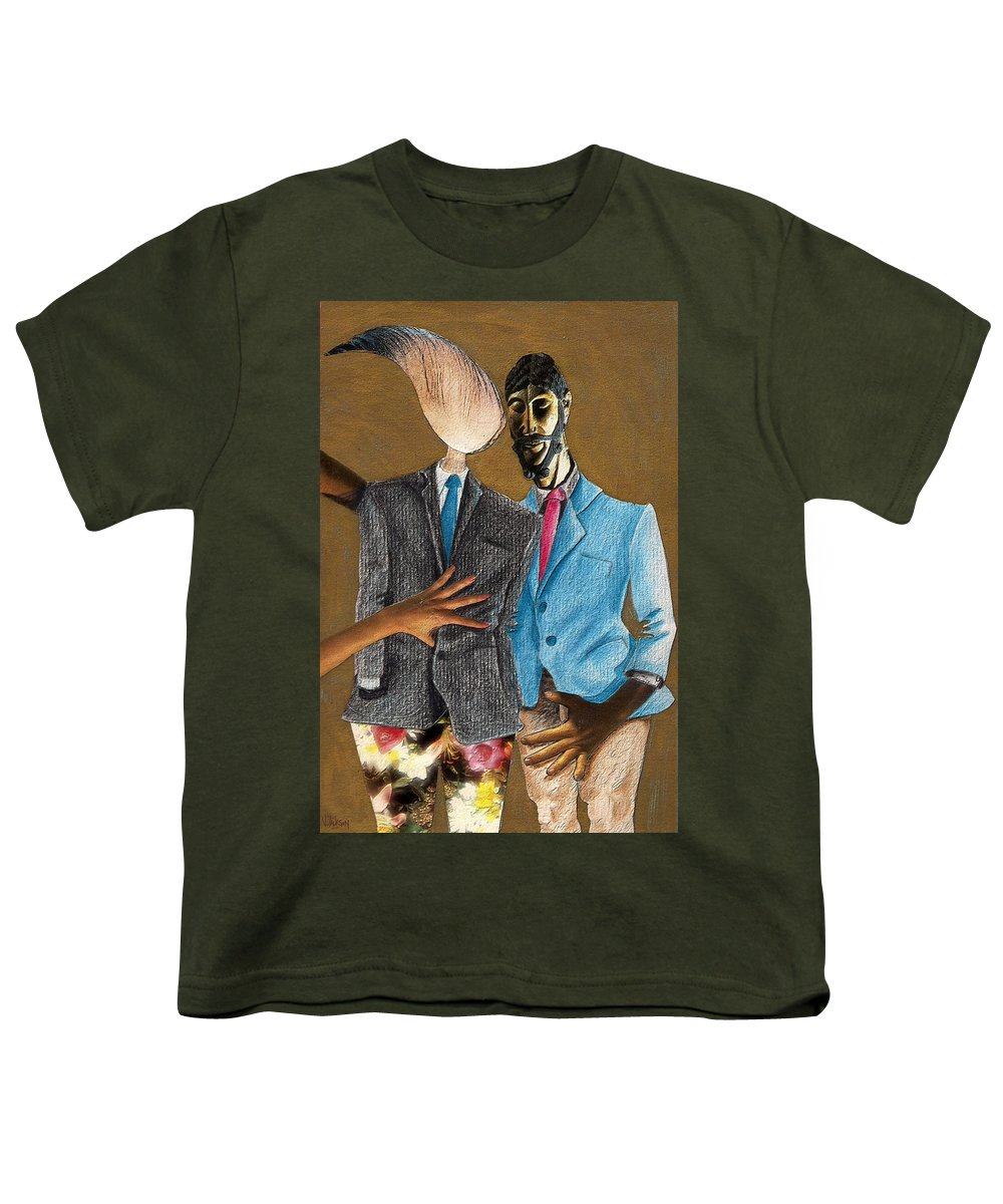 Sex Gay Androginality Couple Love Relation Youth T-Shirt featuring the mixed media Androginality by Veronica Jackson