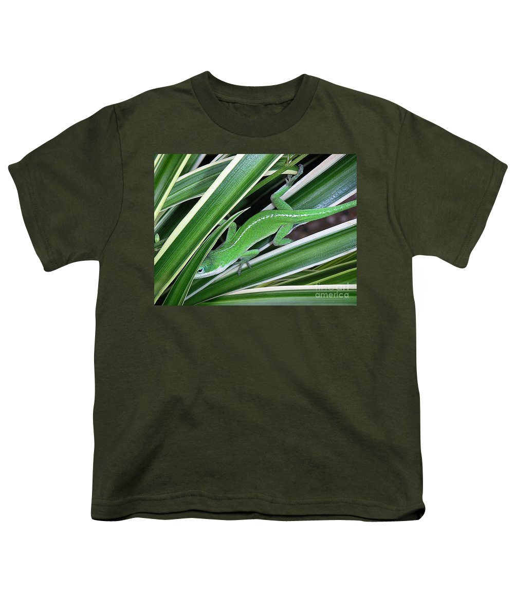 Nature Youth T-Shirt featuring the photograph Anole Hiding In Spider Plant by Lucyna A M Green