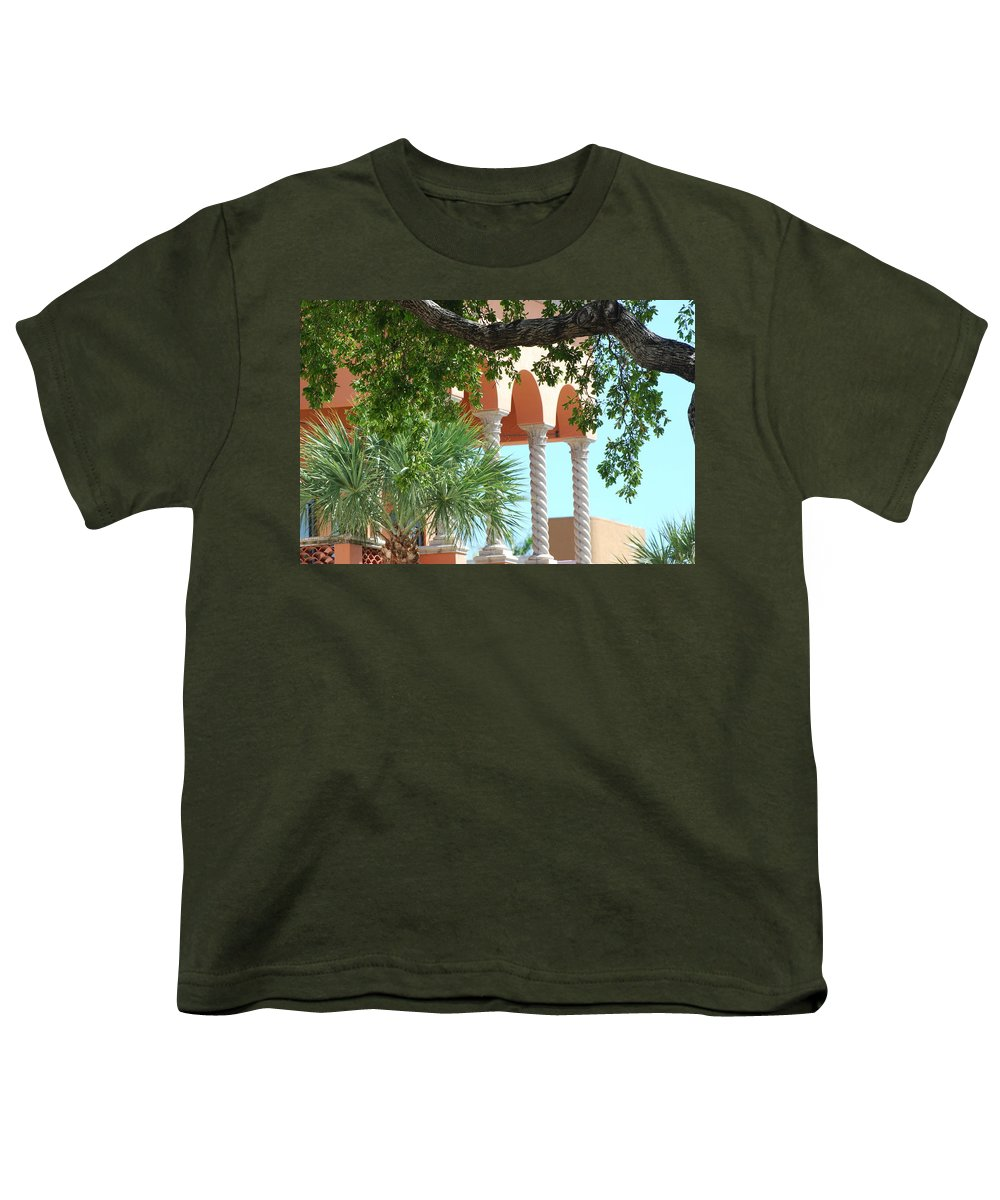 Architecture Youth T-Shirt featuring the photograph Arches Thru The Trees by Rob Hans