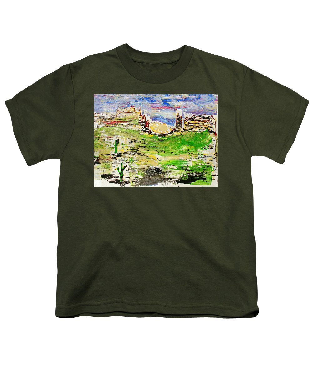 Cactus Youth T-Shirt featuring the painting Arizona Skies by J R Seymour