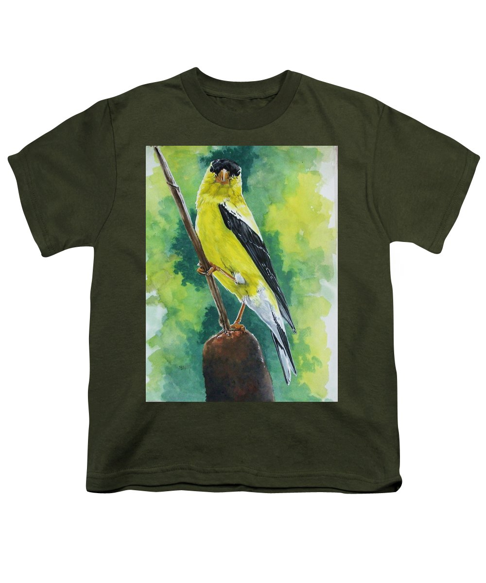 Common Bird Youth T-Shirt featuring the painting Aureate by Barbara Keith