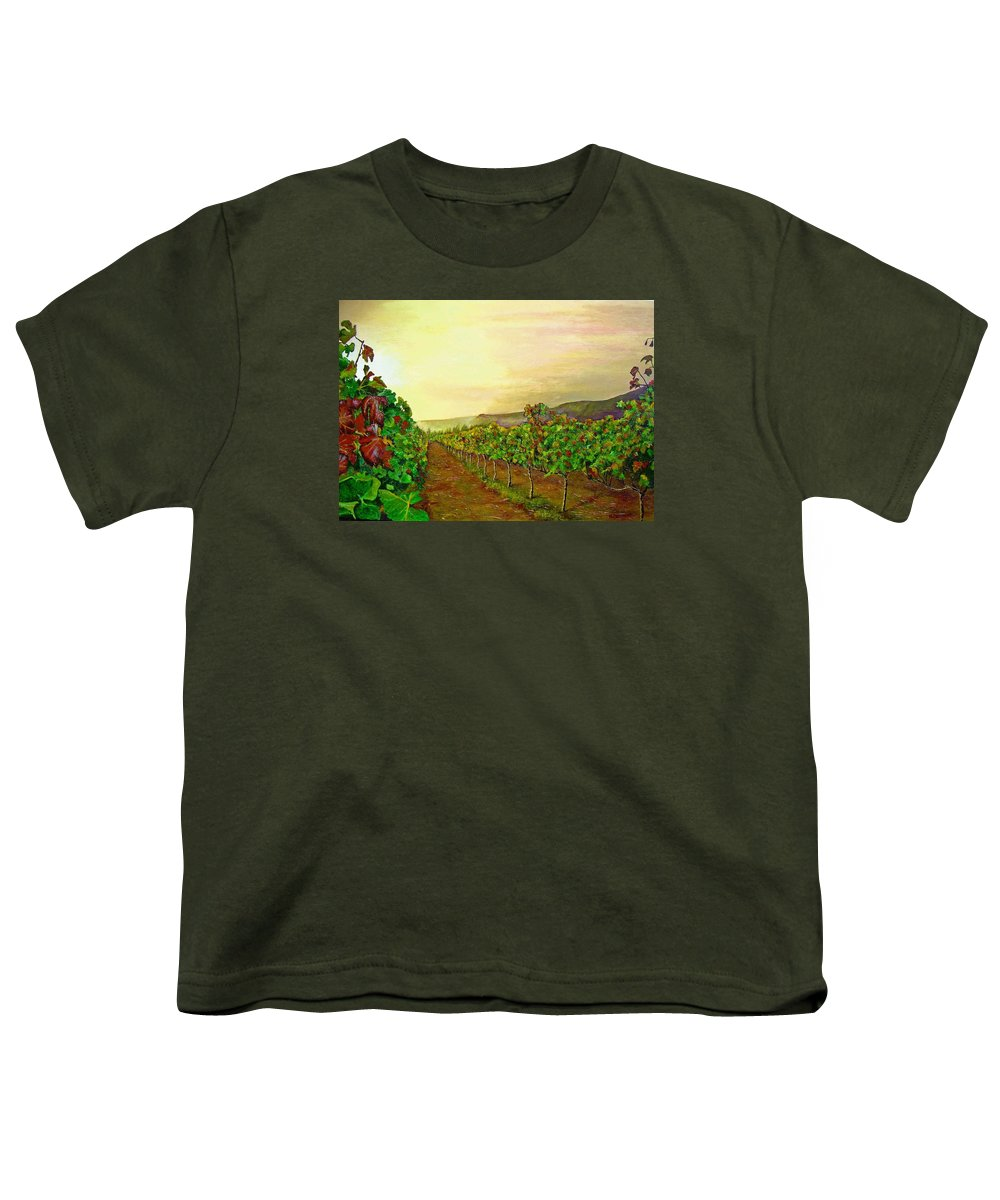 Vineyard Youth T-Shirt featuring the painting Autumn At Steenberg by Michael Durst