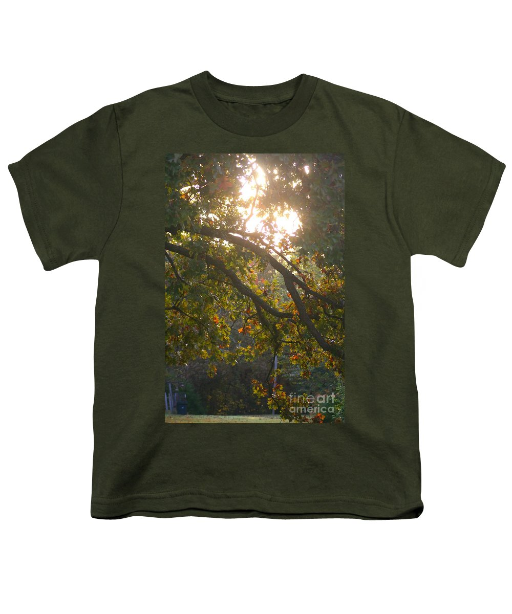 Autumn Youth T-Shirt featuring the photograph Autumn Morning Glow by Nadine Rippelmeyer