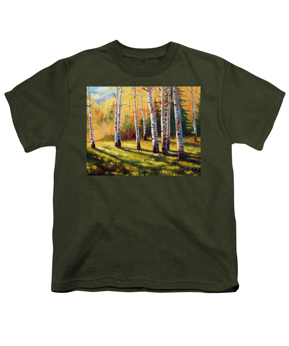 Landscape Youth T-Shirt featuring the painting Autumn Shade by David G Paul