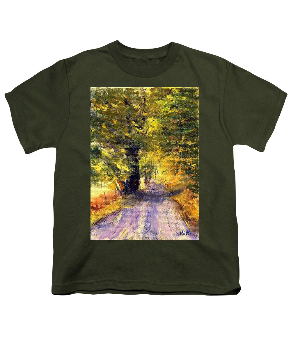 Autumn Youth T-Shirt featuring the painting Autumn Walk by Gail Kirtz