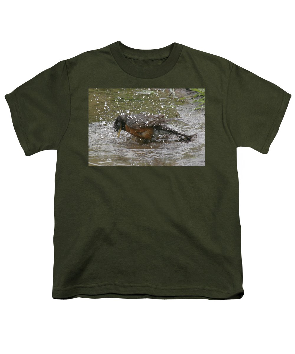 Robin Bird Youth T-Shirt featuring the photograph Bath Time by Robert Pearson