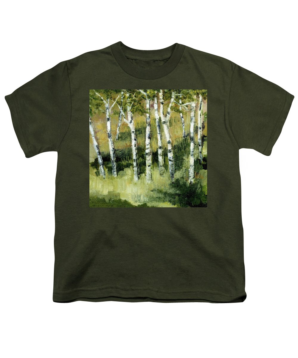 Trees Youth T-Shirt featuring the painting Birches On A Hill by Michelle Calkins