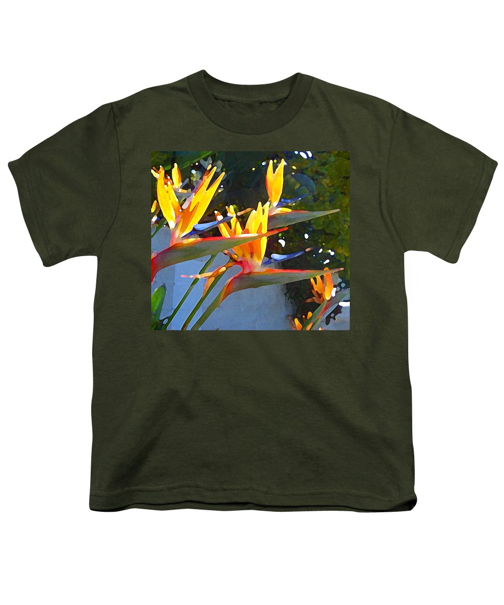 Abstract Youth T-Shirt featuring the painting Bird Of Paradise Backlit By Sun by Amy Vangsgard